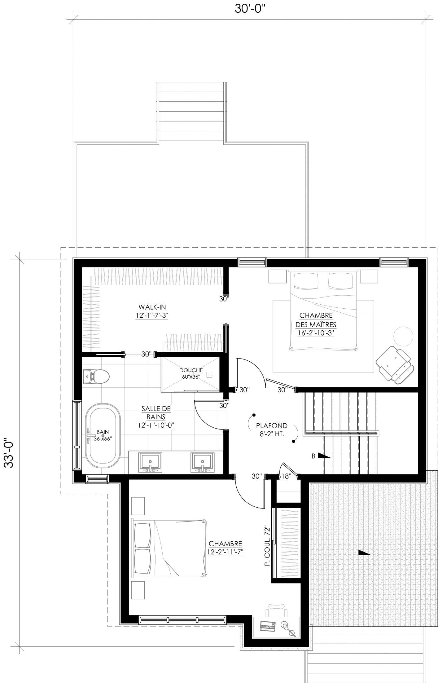 Plan inversé de l'étage